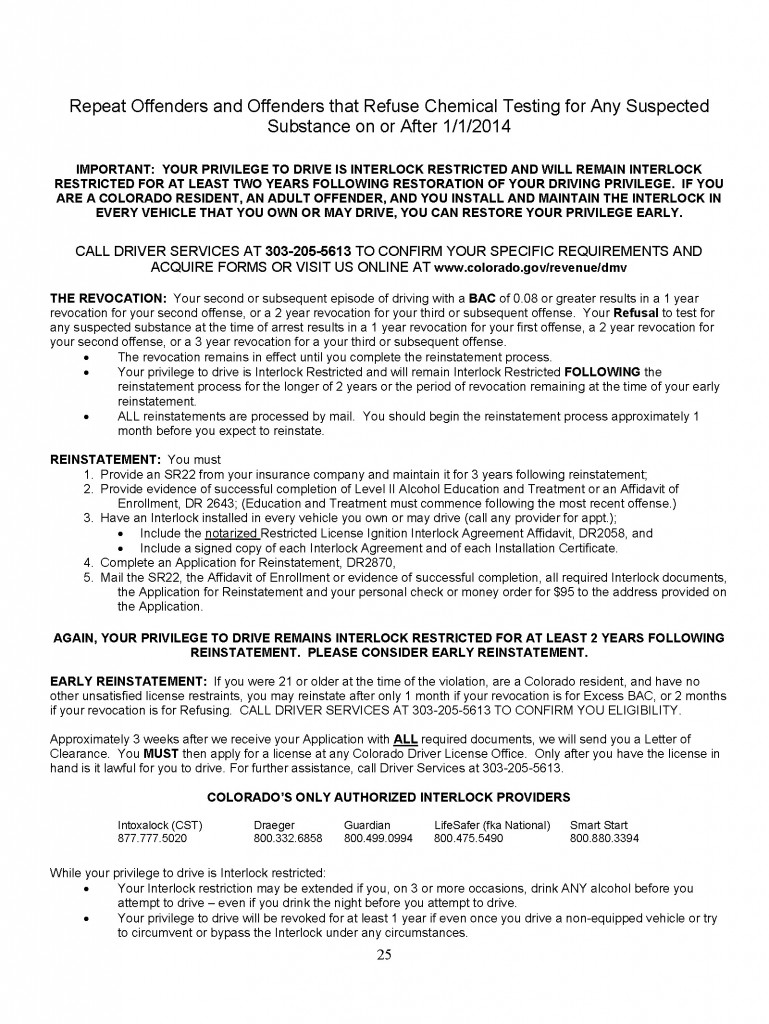 Colorado DMV Handout On Refusals Under Express Consent Law
